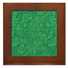 Green Circuit Board Framed Tile