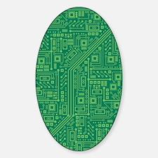 Green Circuit Board Sticker (Oval)