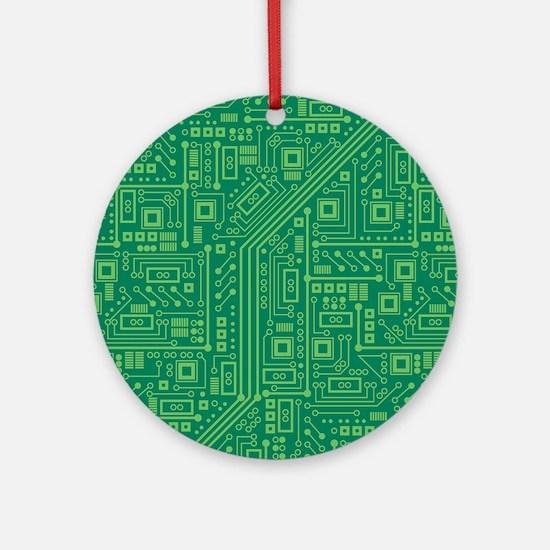 Green Circuit Board Round Ornament