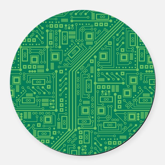 Green Circuit Board Round Car Magnet