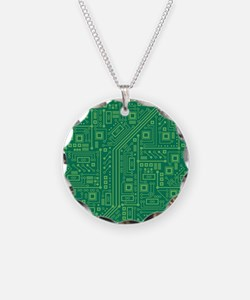 Green Circuit Board Necklace