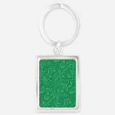 Green Circuit Board Portrait Keychain
