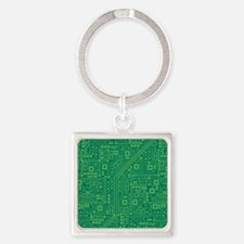 Green Circuit Board Square Keychain