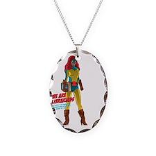 Female Superhero Necklace Oval Charm