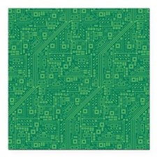 "Green Circuit Board Square Car Magnet 3"" x 3"""