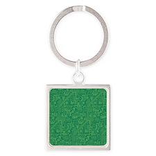 Green Circuit Board Square Keychain