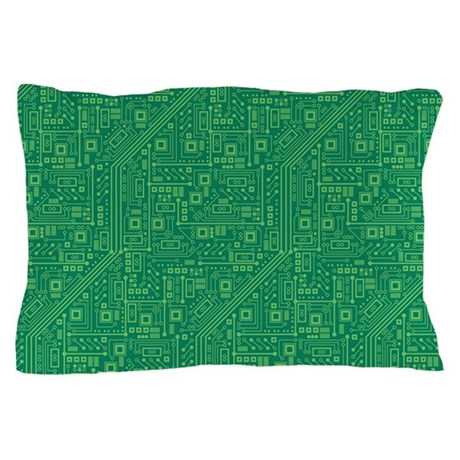 Green Circuit Board Pillow Case