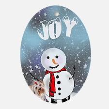 Yorkie Christmas Oval Ornament