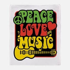 Rasta Peace Love Music Throw Blanket