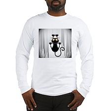 Black Cat Cartoon Scratching W Long Sleeve T-Shirt