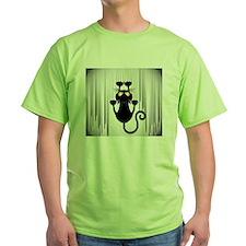 Black Cat Cartoon Scratching Wall T-Shirt