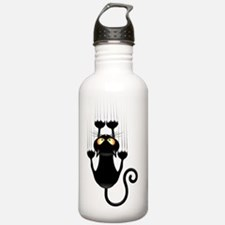 Black Cat Cartoon Scra Water Bottle