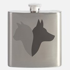 cat and dog head silhouette Flask