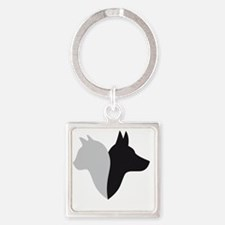 cat and dog head silhouette Square Keychain