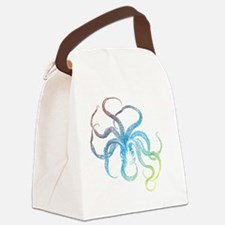 colorful octopus silhouette Canvas Lunch Bag