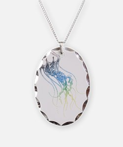 colorful jellyfish drawing Necklace