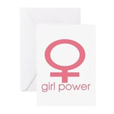 Girl Power Light Pink Greeting Cards (Pk of 10