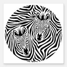 "Zebra Couple Square Car Magnet 3"" x 3"""