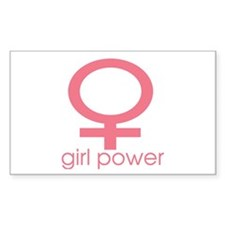 Girl Power Light Pink Rectangle Decal