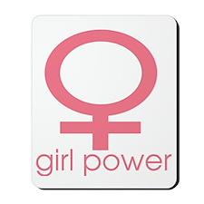 Girl Power Light Pink Mousepad