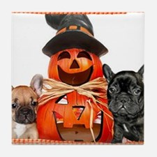 Halloween French Bulldogs Tile Coaster