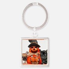 Halloween French Bulldogs Square Keychain
