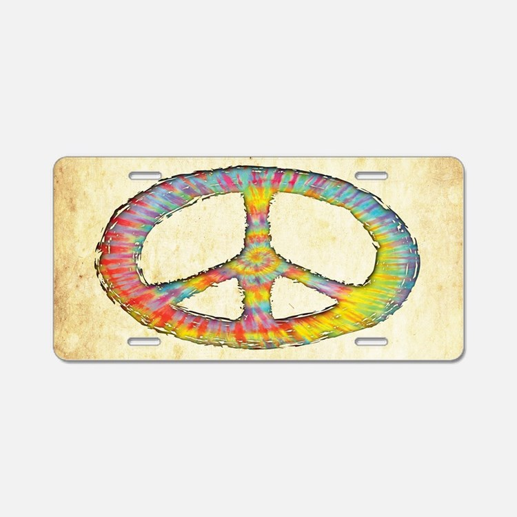 tiedye-peace-713-OV Aluminum License Plate