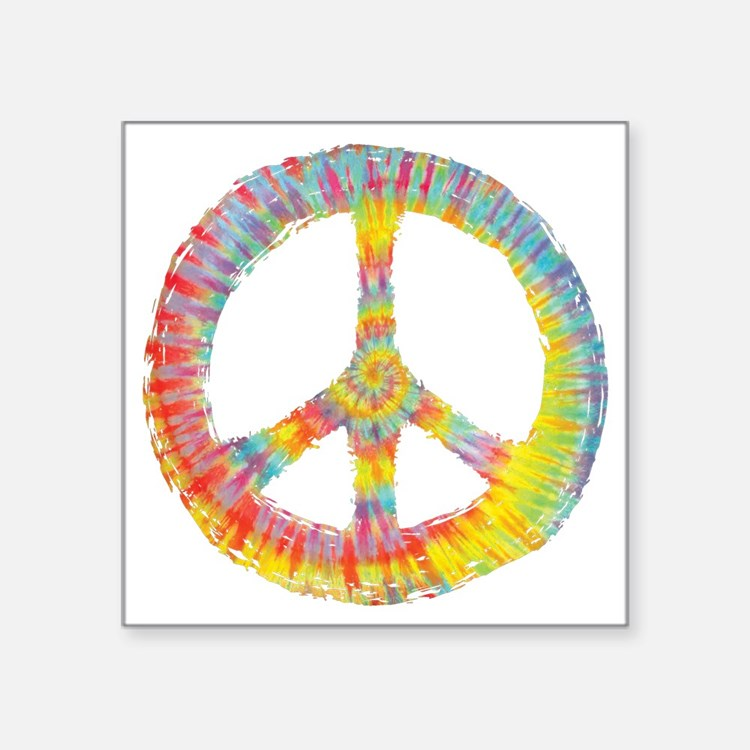 "tiedye-peace-713-DKT Square Sticker 3"" x 3"""