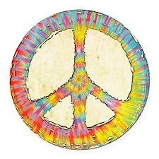 tiedye-peace-713-PLLO Round Car Magnet