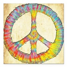 "tiedye-peace-713-PLLO Square Car Magnet 3"" x 3"""