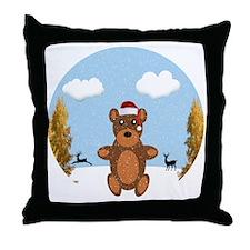 Christmas Brown Bear Throw Pillow