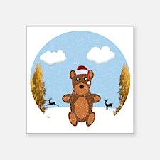 "Christmas Brown Bear Square Sticker 3"" x 3"""