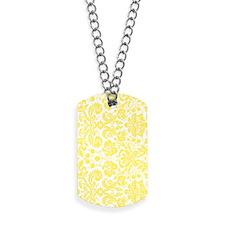 lemon grey damask bg4 Dog Tags