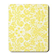 lemon grey damask bg4 Mousepad