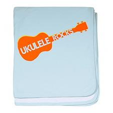 orange ukulele rocks baby blanket