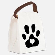 Heart Paw Print Canvas Lunch Bag