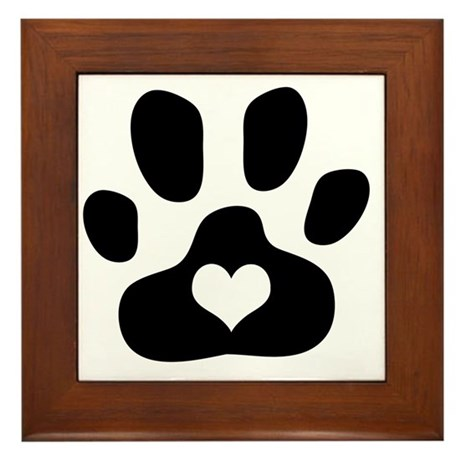Heart Paw Print Framed Tile