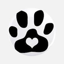"Heart Paw Print 3.5"" Button"
