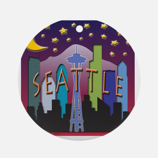 Seattle Skyline Mega Color Round Ornament