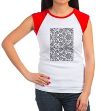 grey damask bg4 Women's Cap Sleeve T-Shirt