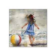 "Beach Girl 2 Square Sticker 3"" x 3"""