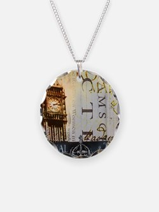 vintage big ben London typog Necklace