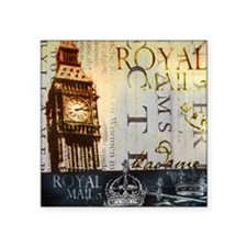 "vintage big ben London typo Square Sticker 3"" x 3"""