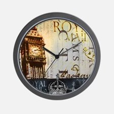 vintage big ben London typography UK  f Wall Clock