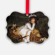 Lady in a Boat with Pug Ornament