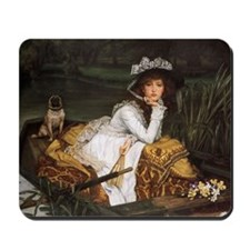Lady in a Boat with Pug Mousepad
