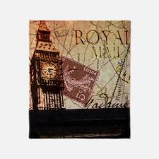 vintage big ben London map UK  fashi Throw Blanket