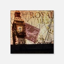 "vintage big ben London map  Square Sticker 3"" x 3"""