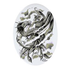 Dragon  Phoenix Tattoo Art A4 Oval Ornament