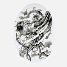 Dragon  Phoenix Tattoo Art A4 Oval Ornament